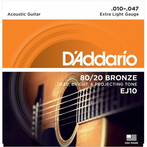 D'Addario 80/20 Bronze Extra Light Gauge 10-47 Acoustic image