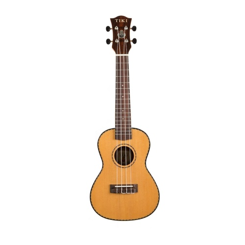 Tiki '22 Series' Spruce Solid Top Concert Ukulele with Case (Natural Gloss) image
